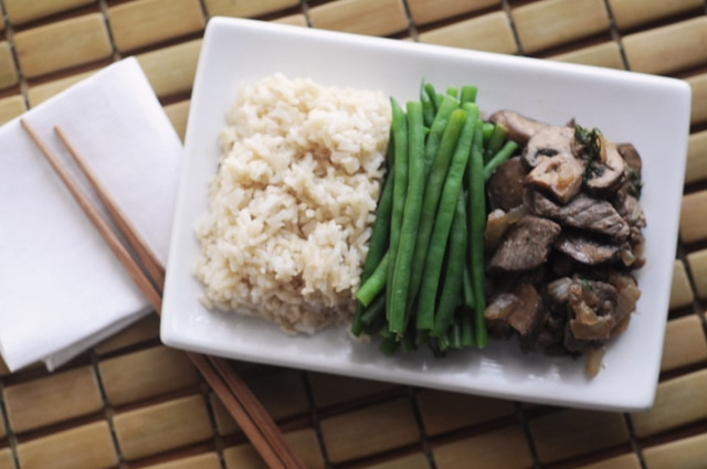 Ginger Beef with Rice and Green Beans