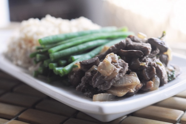 Ginger Beef Rice Green Beans