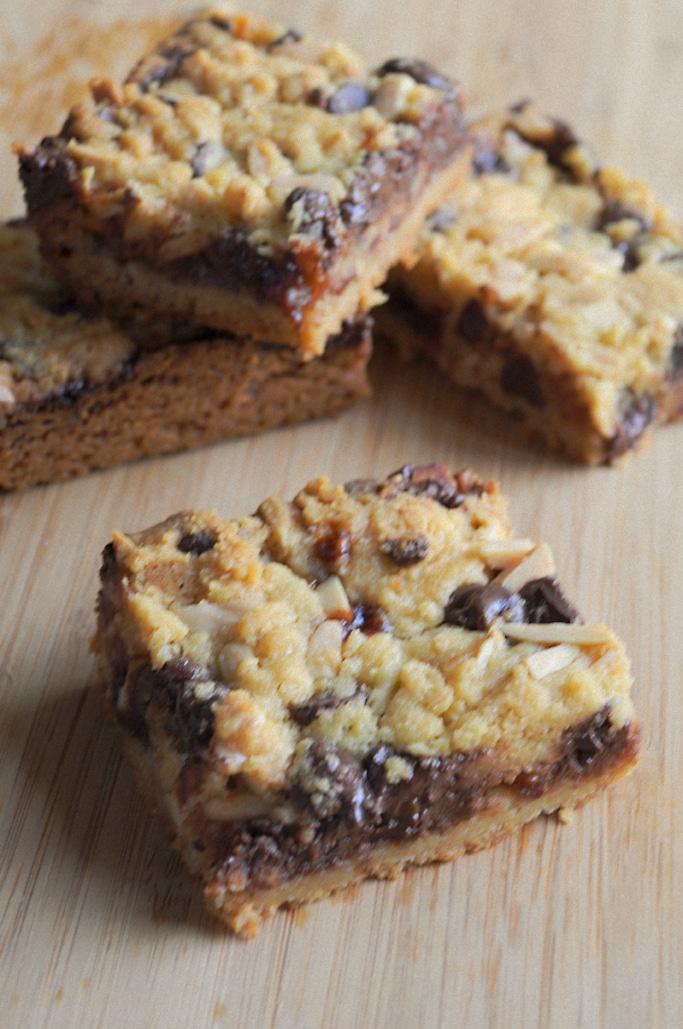 Chocolate Almond Raspberry Crumb Bars