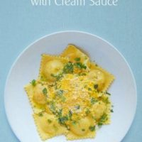 Roasted Butternut Squash Ravioli with Cream Sauce