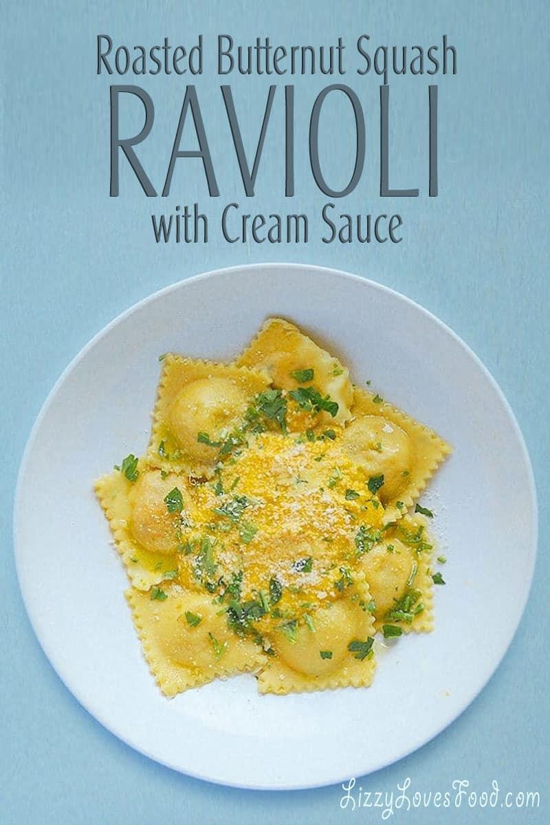 Roasted Butternut Squash Ravioli with Cream Sauce