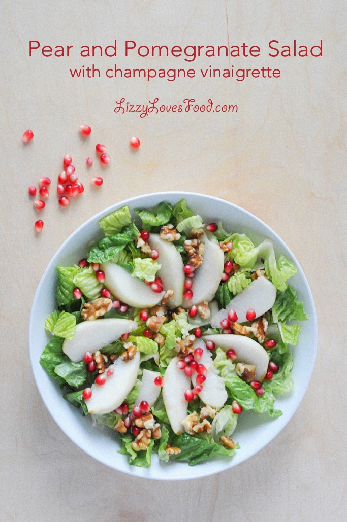 Pear and Pomegranate Salad with Champagne Vinaigrette