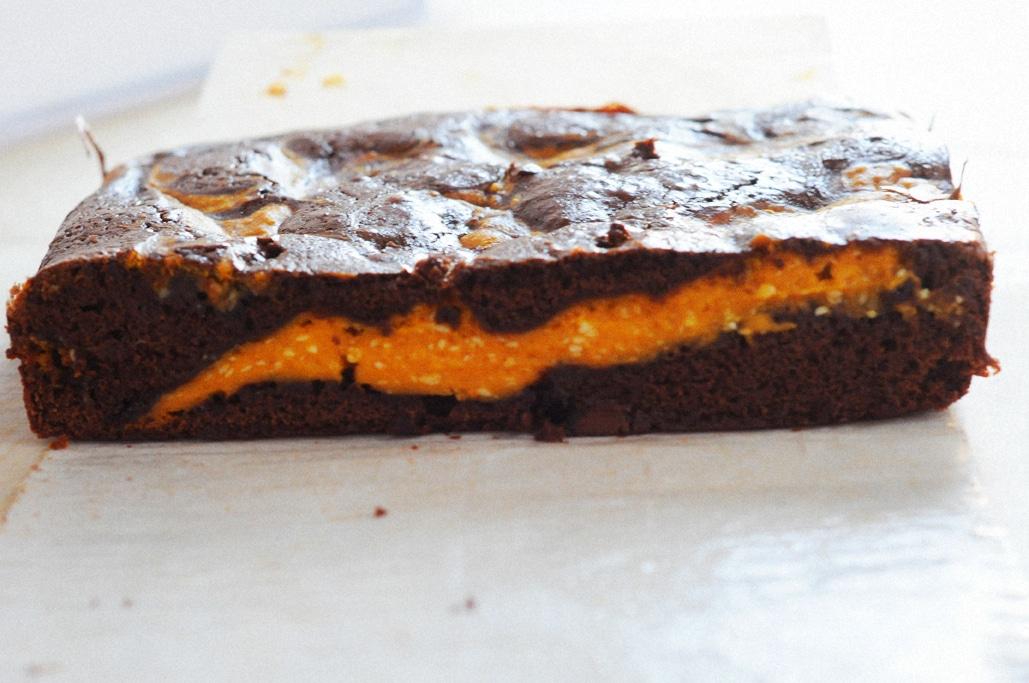 Deluxe Pumpkin Cream Cheese Brownies