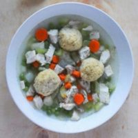 A tasty traditional matzo ball soup