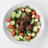 Lebanese Meatball with Spinach Salad