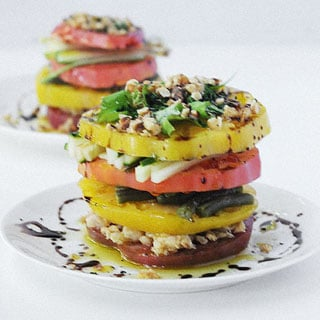 Heirloom Tomato Salad with Cranberry Vinaigrette has the great taste of a cranberry vinaigrette to top it off.