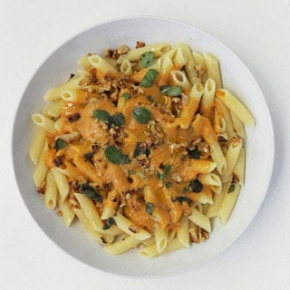 Pumpkin Walnut Sauce with Penne Pasta