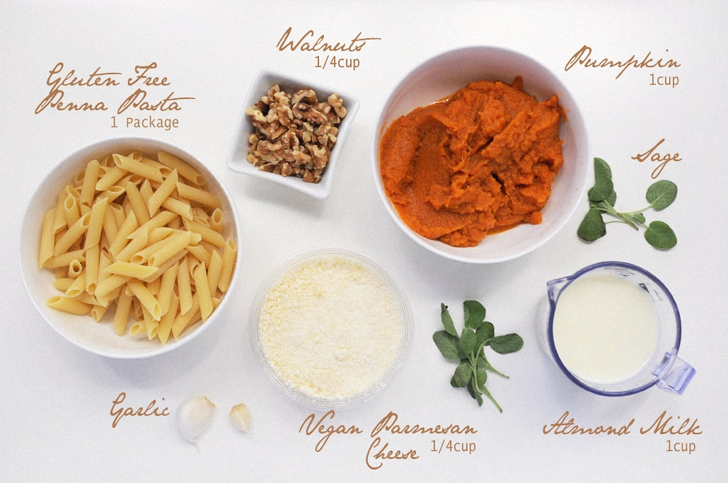 Vegan Pumpkin Walnut Sauce with Penne Pasta