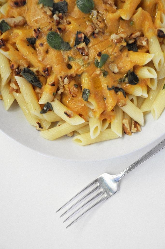 Vegan Pumpkin Walnut Sauce with Penne Pasta