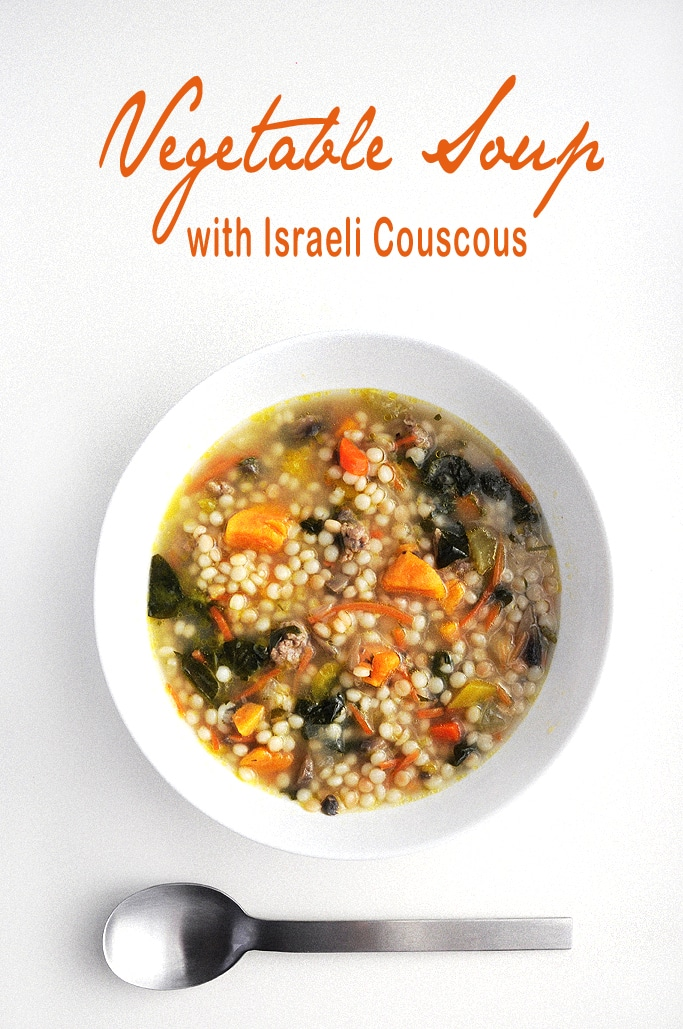 Vegetable Soup with Israeli Couscous makes me so happy during this cold winter week. #glutenfree #vegetablesoup #wintersoup #healthy