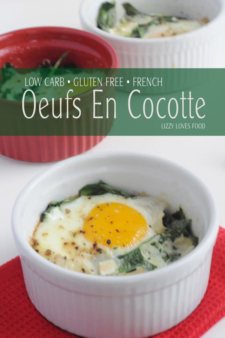 Quick Low-Carb Egg Breakfast from France is called the Egg in a Pot. I can remember these Low-Carb Christmas Breakfast in France which are calledOeufs en Cocotte. #lowcarbbreakfast #lowcarb #glutenfreebreakfast #eggs #french #goatbrie #breakfast