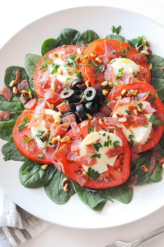 Crispy Salami Caprese Salad Recipe