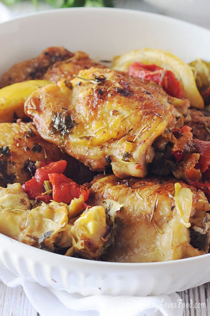 Baked Chicken Thighs with Artichokes