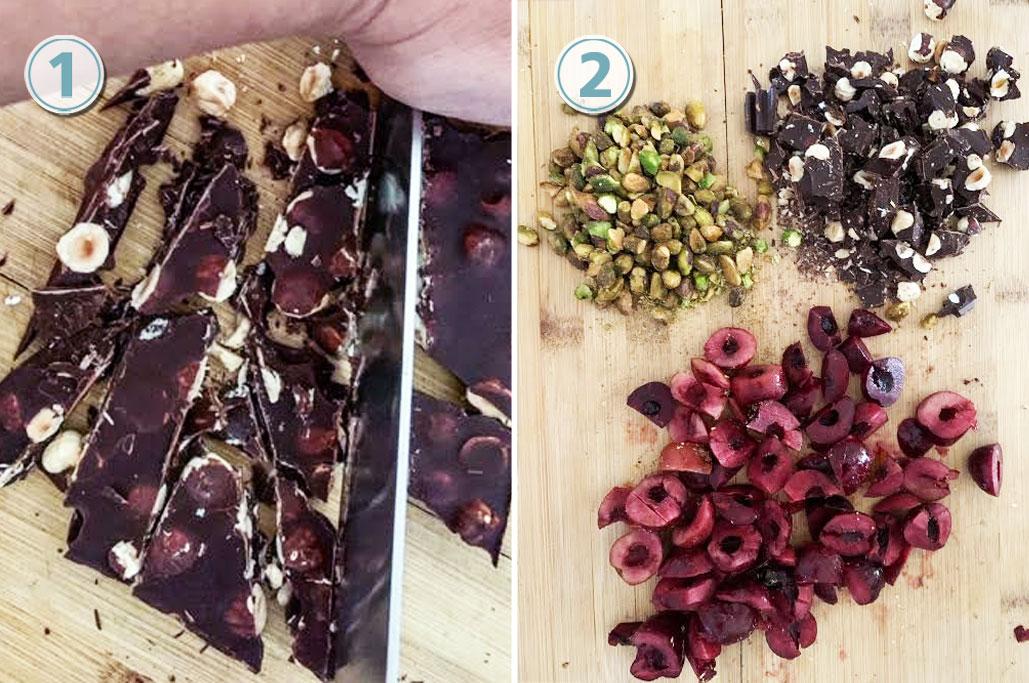 Vanilla Ice Cream Recipe with Cherry Chocolate and Pistachio Mix