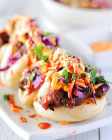 Sweet and Spicy Korean Beef with Bao Bun