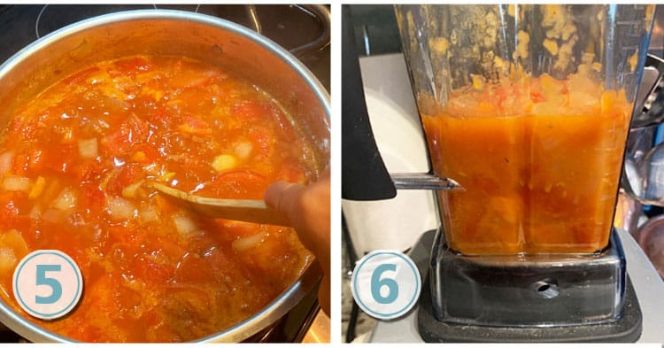 mixing and blending soup